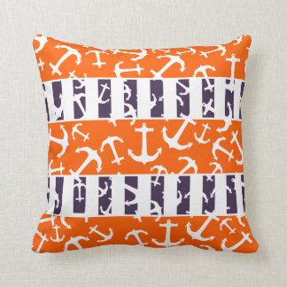 Nautical Anchors Fluo Neon Orange Navy Blue Stripe Throw Pillow