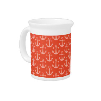 Nautical Anchors in Coral Pink Pretty Pattern Beverage Pitchers
