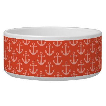 Beach Themed Nautical Anchors in Coral Pink Pretty Pattern Bowl