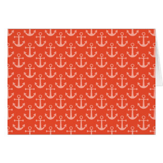 Nautical Anchors in Coral Pink Pretty Pattern Card
