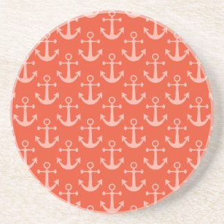 Nautical Anchors in Coral Pink Pretty Pattern Coaster