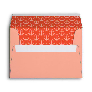 Nautical Anchors in Coral Pink Pretty Pattern Envelope