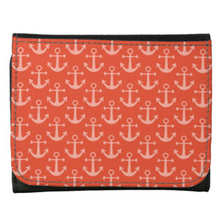 Nautical Anchors in Coral Pink Pretty Pattern Leather Wallet