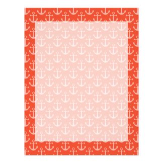 Nautical Anchors in Coral Pink Pretty Pattern Letterhead