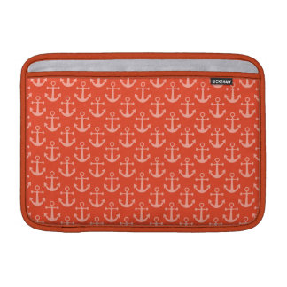Nautical Anchors in Coral Pink Pretty Pattern MacBook Air Sleeves