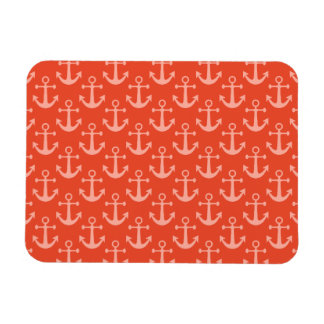Nautical Anchors in Coral Pink Pretty Pattern Magnet