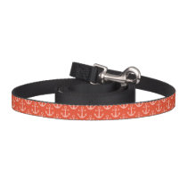 Nautical Anchors in Coral Pink Pretty Pattern Pet Leash