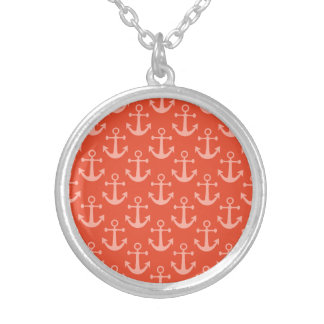 Nautical Anchors in Coral Pink Pretty Pattern Round Pendant Necklace