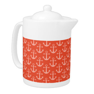 Nautical Anchors in Coral Pink Pretty Pattern Teapot