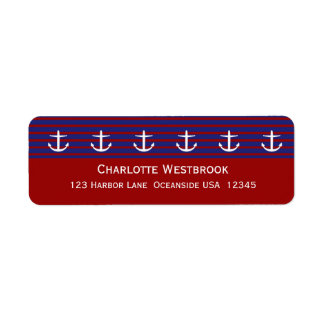 Nautical Anchors on Classic Stripe Personalized Label