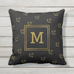 "Nautical Anchors Pattern Black and Gold Monogram Outdoor Pillow<br><div class=""desc"">Preppy, black and gold anchors, monogrammed outdoor pillow for sailors- Classic anchors pattern in faux gold metallic color on black background. Centered is a modern monogram in gold color framed in black and faux gold metallic square. Same on back. Background color may be changed to any color, whether it&#39;s a...</div>"