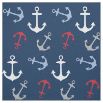 Nautical Anchors Pattern | Navy Blue and Red Fabric