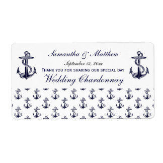 Nautical Anchors Pattern Wine Label