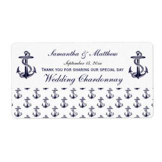 Nautical Anchors Pattern Wine Label