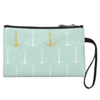 Nautical anchors preppy girly blue anchor pattern wristlet purses