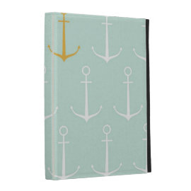 Nautical anchors preppy girly blue anchor pattern iPad folio cases