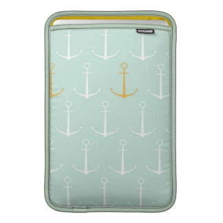 Nautical anchors preppy girly blue anchor pattern MacBook sleeve