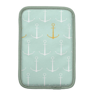 Nautical anchors preppy girly blue anchor pattern iPad mini sleeves