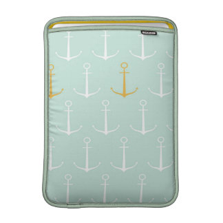 Nautical anchors preppy girly blue anchor pattern sleeve for MacBook air