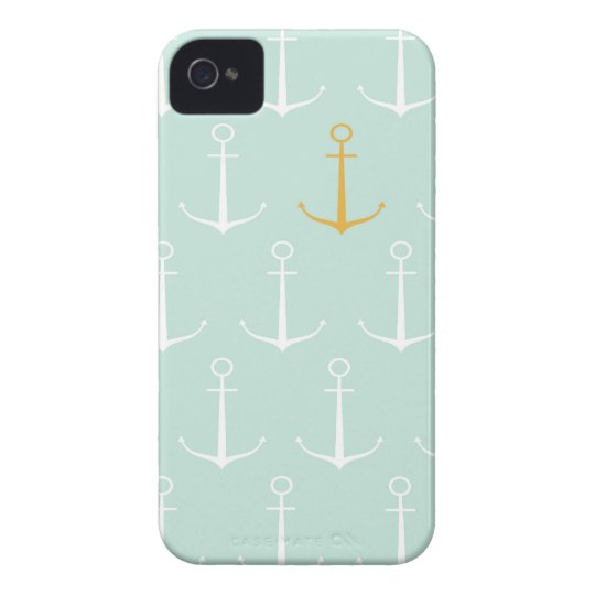 Nautical anchors preppy girly blue anchor pattern iPhone 4 ...