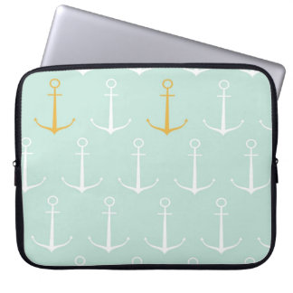 Nautical anchors preppy girly blue anchor pattern laptop computer sleeve