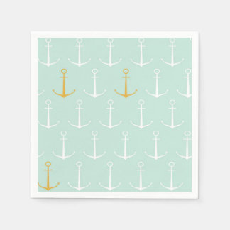 Nautical anchors preppy girly blue anchor pattern paper napkin