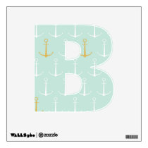 Nautical anchors preppy girly blue anchor pattern wall decal
