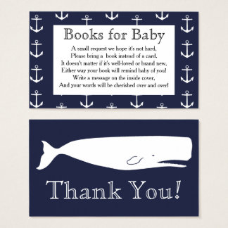 Nautical Anchors & Whale Baby Shower Book Request Business Card
