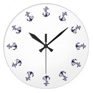 Nautical Anchors, White Background Clock