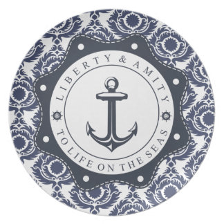 Nautical and blue and white Damascus reason, plate