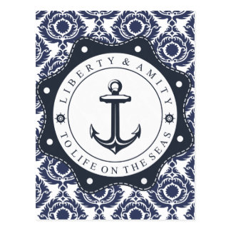Nautical and blue and white Damascus reason, Postcard