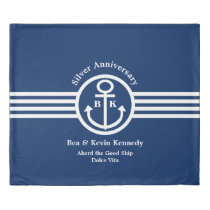 Nautical Anniversary Event Blue and White Duvet Cover