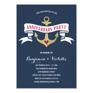Nautical Anniversary Party Card