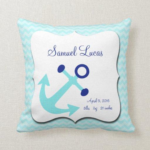 Nautical Aqua Anchor Chevron Keepsake Pillow