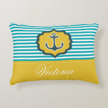 Nautical Aqua Blue Yellow Stripes Anchor Custom Accent Pillow