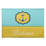 Nautical Aqua Blue Yellow Stripes Anchor Custom Place Mats