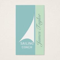 Nautical Aqua Minimal Sail Boat Sailing Business Card
