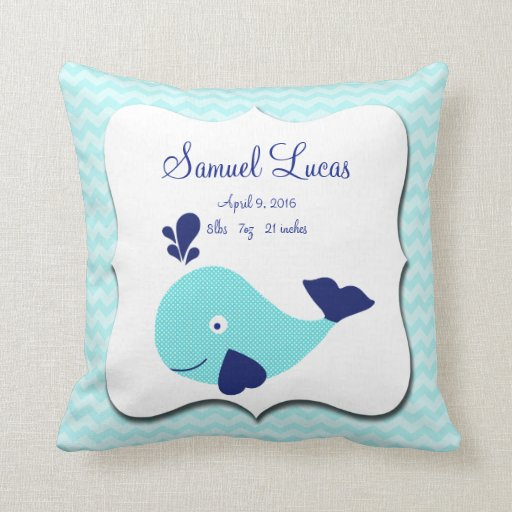 Nautical Aqua Whale Chevron Keepsake Pillow