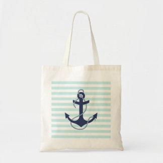 Nautical Aqua & White Stripes Navy Blue Anchor Budget Tote Bag