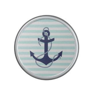 Nautical Aqua & White Stripes Navy Blue Anchor Bluetooth Speaker