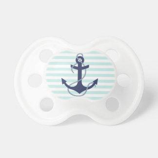 Nautical Aqua & White Stripes Navy Blue Anchor BooginHead Pacifier