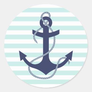 Nautical Aqua & White Stripes Navy Blue Anchor Classic Round Sticker