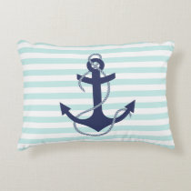 Nautical Aqua & White Stripes Navy Blue Anchor Decorative Pillow