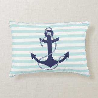 Nautical Aqua & White Stripes Navy Blue Anchor Decorative Pillow