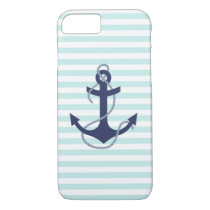 Nautical Aqua & White Stripes Navy Blue Anchor iPhone 7 Case