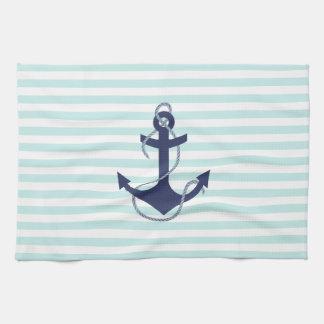 Nautical Aqua U0026amp; White Stripes Navy Blue Anchor Kitchen Towel