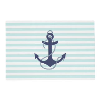Nautical Aqua & White Stripes Navy Blue Anchor Placemat