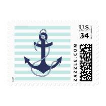 Nautical Aqua & White Stripes Navy Blue Anchor Postage
