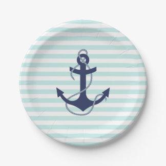Nautical Aqua & White Stripes Navy Blue Anchor 7 Inch Paper Plate