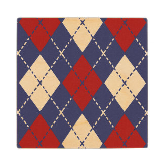 Nautical Argyle Pattern Wooden Coaster